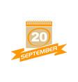 20 september calendar with ribbon vector image