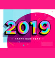 2019 happy new year card textured numbers vector image vector image