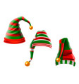 a collection funny hats elf hats set isolation vector image vector image