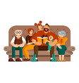a happy big family spends their leisure time vector image vector image