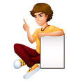 A man sitting beside the empty signboard vector image vector image