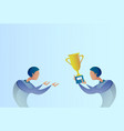 abstract business man giving golden cup prize to vector image vector image