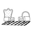armchairs furnitures carpet isolated icon line vector image vector image