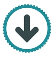 Arrow Down flat soft blue colors round stamp icon vector image vector image