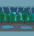 autumn rainy season lightnings thunder gray vector image