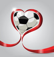 ball in red ribbon heart vector image vector image