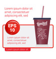 banner with plastic fastfood cup for beverages vector image