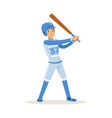 baseball player in blue uniform getting ready to vector image vector image