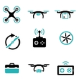 black drone icon set vector image