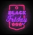 black friday purple neon sign in red price tag vector image vector image