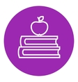 Books and apple on top line icon vector image vector image