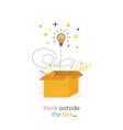 box think outside light bulb line concept vector image