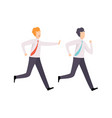 businessman catching up running colleague vector image vector image