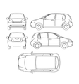 Car line draw hatchback insurance rent damage vector image
