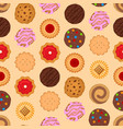 cartoon color round cookies seamless pattern vector image vector image
