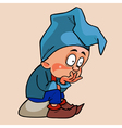 cartoon gnome in a blue cap sitting pensive vector image vector image