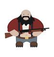 Cartoon redneck in red shirt with shotgun No vector image vector image