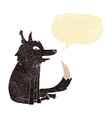 cartoon wolf sitting with speech bubble vector image vector image