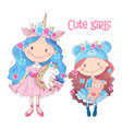 cute cartoon girl hand drawing vector image vector image