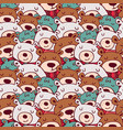 cute christmas winter bear doodle seamless pattern vector image