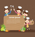 cute family cooking background vector image vector image