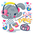 cute rabbit girl listening to music and dancing vector image vector image