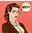 Disappointed Businesswoman Comic Bubble Pop Art vector image