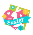 easter holiday celebration isolated emblem bunny vector image