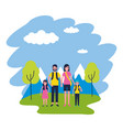 family vacations nature mountains landscape vector image