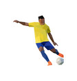 football player in low poly art vector image vector image