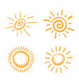 four painted suns solar symbols set vector image vector image