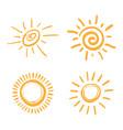 four painted suns solar symbols set vector image
