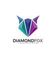 fox head with diamond or gem stone vector image vector image