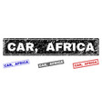 grunge car africa scratched rectangle stamps vector image vector image