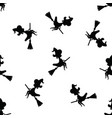 halloween pattern black witch silhouette flying on vector image vector image