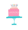 happy birthday cake party and celebration design vector image