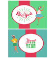 happy new year poster woman in santa claus hat vector image vector image