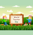 happy teachers day with children on nature backgr vector image vector image