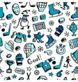 Hockey seamless pattern sketch for your design vector image