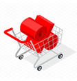 isometric shopping cart vector image vector image