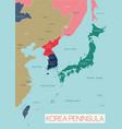 korea peninsula detailed editable map vector image vector image