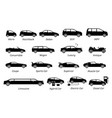 list different types car icons set icon of vector image