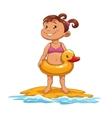 little girl on beach vector image