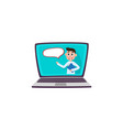 male doctor talking on laptop screen help service vector image