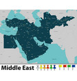map of middle east vector image vector image