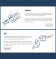 marine creatures lobster and eel landing page vector image