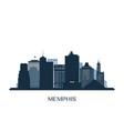 memphis skyline monochrome silhouette vector image vector image