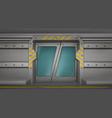 metal door sliding gates in spaceship hallway vector image vector image