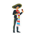 mexican mariachi musician vector image vector image