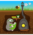 mole reading book at home vector image